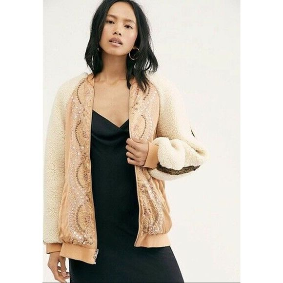 Free People Jackets & Blazers - Free People Embroidered Sherpa Wicked Games Jacket